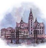 The panoramic view of Copenhagen  watercolor Stock Photos