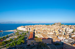 Panoramic view of Corfu city as seen from the New Fortress on Corfu island, Greece. Stock Image