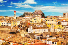 Panoramic view of Corfu Old Town royalty free stock photos