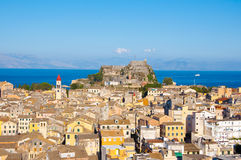 Panoramic view of Corfu old town with the Old Fortress and the Saint Spyridon Church in the distance. Corfu, Greece. Royalty Free Stock Photo