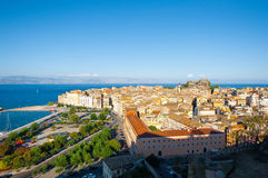 Panoramic view of Corfu town. View from the New Fortress on Corfu island, Greece. Royalty Free Stock Image