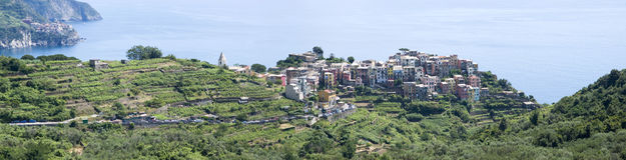 Panoramic view of Corniglia royalty free stock photos