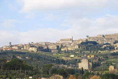 Panoramic view of Cortona and Chiana Valley Royalty Free Stock Images