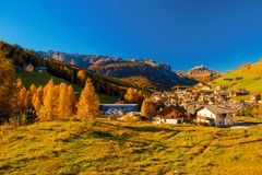 Panoramic view of Corvara in Dolimites, Italy royalty free stock photography