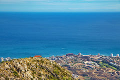 Panoramic view of Costa del Sol. From the top of Calamorro mountain, Benalmadena, Andalusia province, Spain royalty free stock image