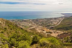 Panoramic view of Costa del Sol. From the top of Calamorro mountain, Benalmadena, Andalusia province, Spain royalty free stock photos