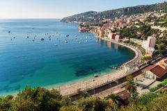 Panoramic view of Cote d'Azur near the town of Villefranche-sur- Stock Images