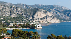 Panoramic view of Cote d'Azur near the town Stock Photography