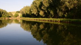Panoramic view on country landscape. Country pond. Sunny afternoon. Audio footage clip. Sound of birds and insects stock video