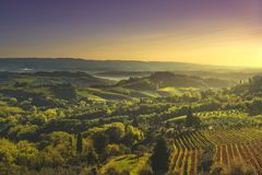 Panoramic view of countryside and chianti vineyards from San Gimignano. Tuscany, Italy. Panoramic view of countryside and chianti vernaccia vineyards from San stock photo