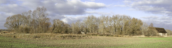 Panoramic view of the countryside farm Royalty Free Stock Photos