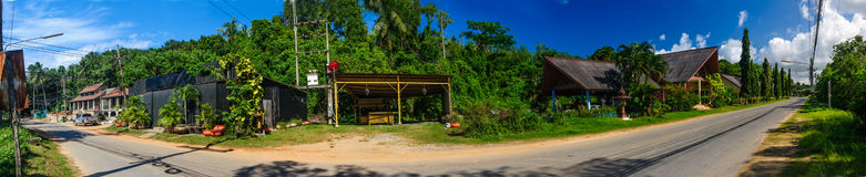 Panoramic view of a countryside road in Phuket Royalty Free Stock Images
