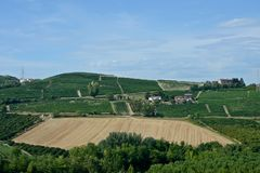 Panoramic view of countryside with vineyard, cultivated fields. On the hills and a blue sky royalty free stock image