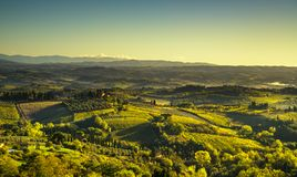 Panoramic view of countryside and vineyards from San Gimignano. Panoramic view of countryside and vineyards from San Gimignano on sunrise. Tuscany, Italy stock image