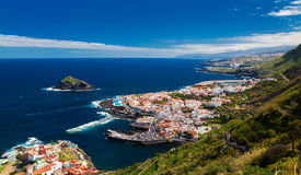 Panoramic view of a cozy Garachico town stock photo