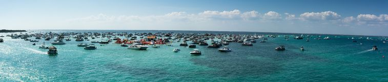 Panoramic View of the  Crab Island Park in a Sunny Day with Several Small Boats in the Sea. Taken by the Destin Bridge. Florida royalty free stock image