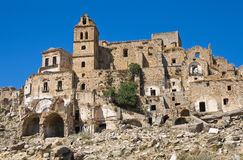 Panoramic view of Craco. Basilicata. Italy. Stock Photography