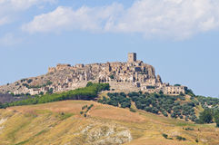 Panoramic view of Craco. Basilicata. Italy. Stock Images