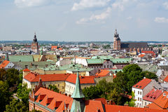 Panoramic view of Cracow Royalty Free Stock Image