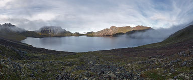 Panoramic view of crater lake active Khangar Volcano on Kamchatka Royalty Free Stock Photography