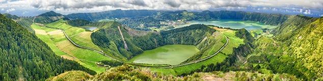 Panoramic view of Crater Sete Cidades from Pico da Cruz at Sao Miguel, Azores
