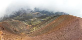 Crater Silvestri Superiori on Mount Etna, Sicily, Italy. Panoramic view of Crater Silvestri Superiori 2001m on Mount Etna, Etna national park, Sicily, Italy stock photography