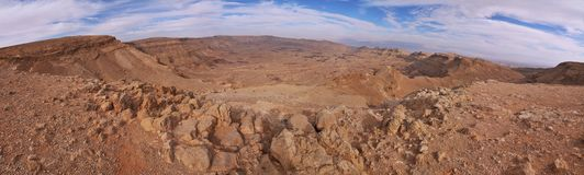 Panoramic View of the crater in south Israel Royalty Free Stock Image