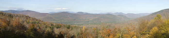 Panoramic view of Crawford Notch State Park in White Mountains of New Hampshire, New England Royalty Free Stock Photos