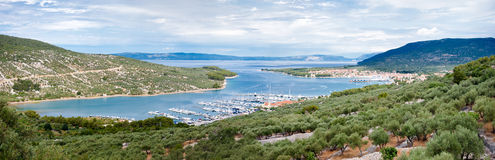 Panoramic view of Cres marina town and landscape Stock Photos