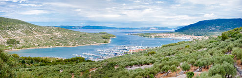 Panoramic view of Cres marina town and landscape Royalty Free Stock Images