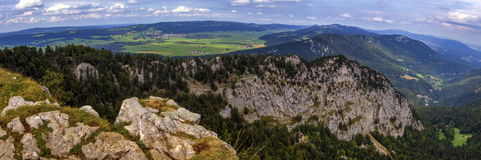 Panoramic view from the Creux-du-Van or Creux du Van rocky cirque, Neuchatel canton, Switzerland Royalty Free Stock Image