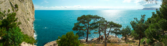 The panoramic view from the Crimean Mountains in the Black Sea Royalty Free Stock Image
