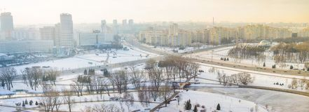 Panoramic view of crossroads in Minsk, winter time royalty free stock image
