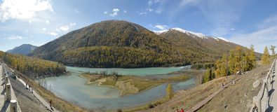 The panoramic view of Crouching Dragon Bay in Kanas Xinjiang China Stock Photo