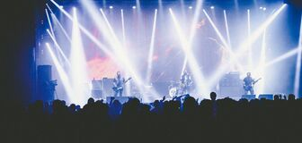 Panoramic View of Crowd at Music Concert Royalty Free Stock Image