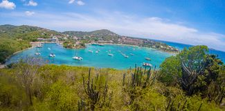 Panoramic view of Cruz Bay the main town on the island of St. John USVI, Caribbean stock photos