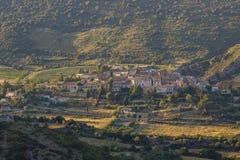 Panoramic view of Cucugnan, France Stock Images