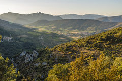 Panoramic view of Cucugnan, France Royalty Free Stock Photo