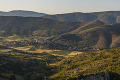 Panoramic view of Cucugnan, France Royalty Free Stock Images