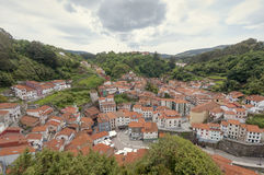 Panoramic View of Cudillero in Asturias, Spain Royalty Free Stock Image