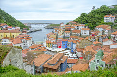Panoramic view of Cudillero, Spain Stock Image