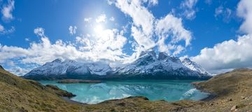 Cuernos del Paine mountains in Torres del Paine National Park in Chile. Panoramic view of Cuernos del Paine mountains in Torres del Paine National Park in Chile stock photography