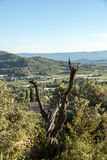 Panoramic view of cultivated fields, vineyards and mountains in Provence. France Stock Image