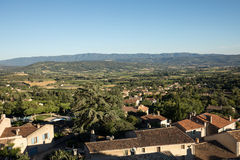 Panoramic view of cultivated fields, vineyards and mountains in Provence. France Stock Images