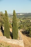 Panoramic view of cultivated fields, vineyards and mountains in Provence. France royalty free stock photos