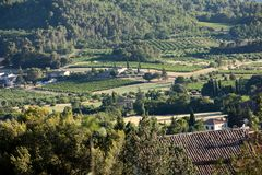Panoramic view of cultivated fields, vineyards and mountains in Provence,. France royalty free stock photography