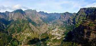 Panoramic view of Curral das Freiras. Curral das Freiras a small village isolated in a valley in Madeira Stock Images