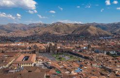 Panoramic view of Cusco historic center, Peru Royalty Free Stock Photos