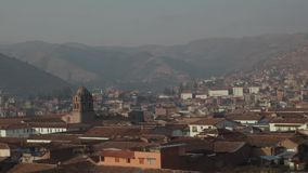 A panoramic view of Cusco in Peru in the morning. Old city Cusco.