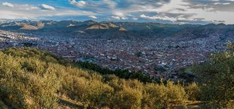 View of Cusco from the Sacsayhuaman, Cusco, Peru stock photos